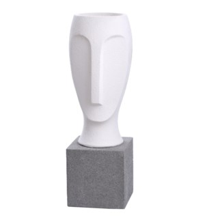 RAPU STATUE- LARGE | Frosted White Finish on Resin with Gray Base