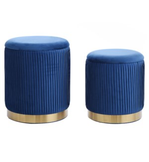 BEECHER OTTOMAN TEAL- SET OF 2 | Teal Ribbed Velvet Storage Ottoman with Gold Finish on Metal Band