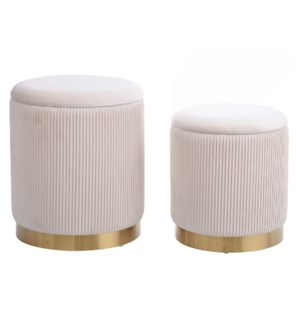 BEECHER OTTOMAN BEIGE- SET OF 2 | Beige Ribbed Velvet Storage Ottoman with Gold Finish on Metal Band