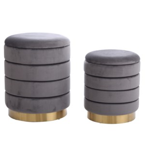 HOLLACE OTTOMAN GRAY- SET OF 2 | Gray Velvet Storage Ottoman with Gold Finish on Metal Band