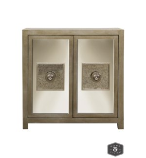 ANDES CABINET | Silver Leaf Finish on Wood with Antique and Plain Finish Beveled Mirror | 2 Door