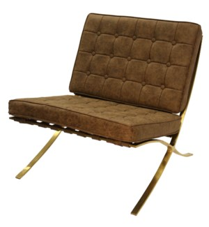 CALVIN ARMLESS CHAIR | Distressed Faux Leather- Chocolate with Brass Finish on Metal Frame