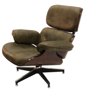 WAGNER SWIVEL CHAIR | Vintage Brown Leather with Iron Finish on Metal Frame
