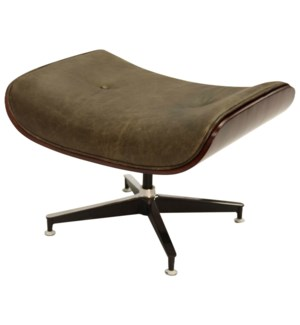 WAGNER SWIVEL OTTOMAN | Vintage Brown Leather with Iron Finish on Metal Frame