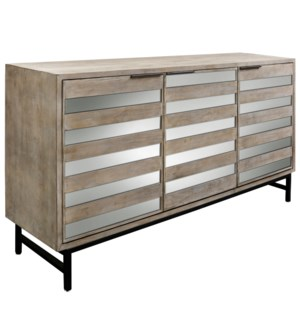 PRESTON SIDEBOARD | Driftwood Finish on Hardwood with Plain Finish Beveled Mirror with Iron Base | 3