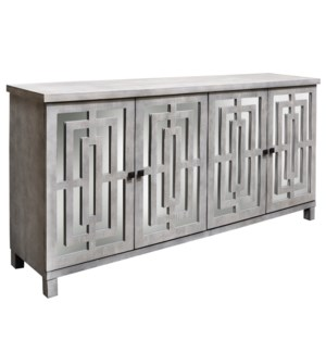 ABBOTT SIDEBOARD | Gray Wash Finish on Hardwood with Plain Finish Beveled Mirror | 4 Door
