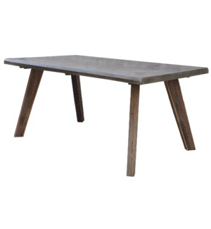 RUXON DINING TABLE | Reclaimed Wood with Galvanized Metal Top