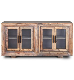 HUGHES SIDEBOARD | Natural Finish on Reclaimed Wood with Plain Glass | 4 Door