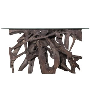 JAKARTA SMALL CONSOLE TABLE- GRAY   Chamcha Gray Finished Wood with a Beveled Edge Glass Top