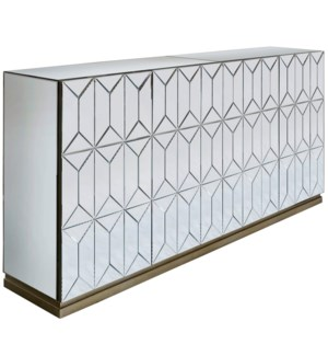 WATERFORD SIDEBOARD | Beveled Mirror with Champagne Finish | 4 Door