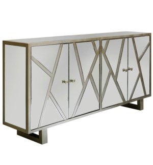 WEXFORD SIDEBOARD | Beveled Mirror with Champagne Finish | 4 Door