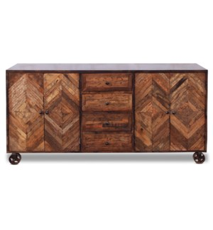 CORBY SIDEBOARD | Reclaimed Walnut Finish on Mango Wood with Iron Frame on Casters | 4 Door 4 Drawer