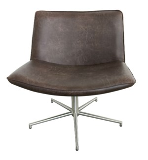 BELFAST CHAIR- BROWN | Distressed Brown Faux Leather with Stainless Finish on Metal Base