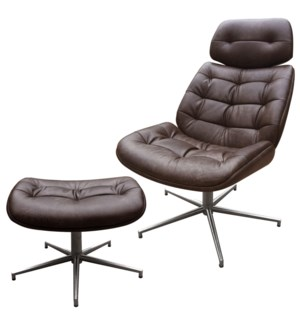 WESTPORT CHAIR AND OTTOMAN- SET | Distressed Brown Faux Leather with Stainless Finish on Metal Swive