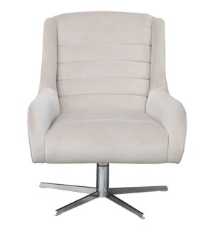 RUTH CHAIR | Taupe Velvet Fabric with Stainless Finish on Metal Swivel Base