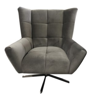 MARIS CHAIR | Charcoal Velvet Fabric with Stainless Finish on Metal Swivel Base