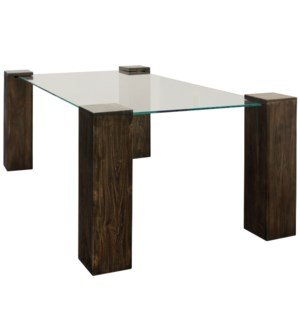 KOBE DINING TABLE- RECTANGLE | Vintage Iron Finish on Wood Legs with Floating Glass