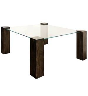 KOBE DINING TABLE- LARGE SQUARE | Vintage Iron Finish on Wood Legs with Floating Glass