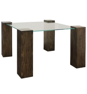 KOBE DINING TABLE- SMALL SQUARE | Vintage Iron Finish on Wood Legs with Floating Glass