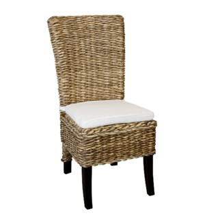 REAGAN DINING CHAIR | Natural Finish on Woven Banana Leaf and Hardwood Frame with Cushion