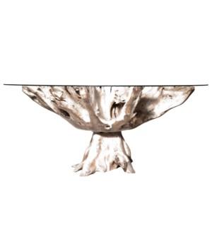 JAKARTA SMALL DINING TABLE - WHITEWASH | Whitewash Finish on Teak Wood with Round Beveled Edge Glass