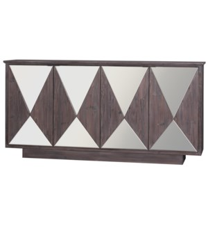 FRANKFURT SIDEBOARD | Washed Brown Finish on Hardwood with Beveled Mirror | 4 Door