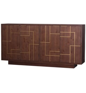 HANOVER SIDEBOARD | Brown Finish on Hardwood with Gold Accents | 4 Door