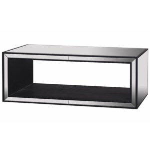 MERIDA COFFEE TABLE | Clear Glass Beveled Mirror on Hardwood