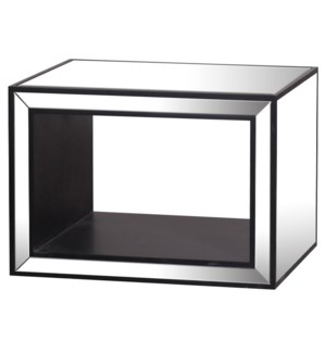 MERIDA END TABLE | Clear Glass Beveled Mirror on Hardwood