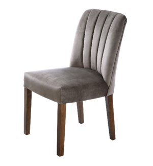 CAPP DINING CHAIR | Dove Gray Velvet on Hardwood Frame