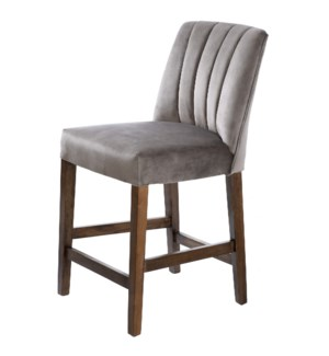 CAPP COUNTER STOOL | Dove Gray Velvet on Hardwood Frame