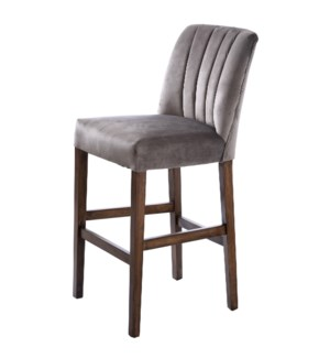 CAPP BAR STOOL | Dove Gray Velvet on Hardwood Frame