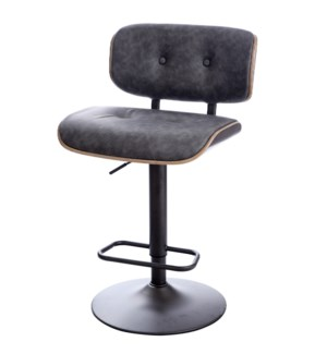 WRAY BAR STOOL | Faux Distressed Gray Leather with Gray Finish on Metal Base