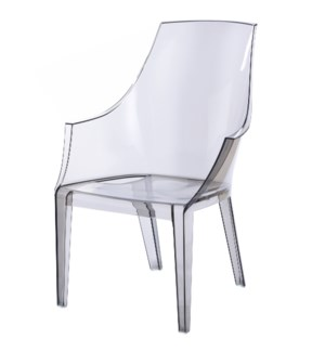 LOGAN ARM CHAIR- GRAY | Gray Polycarbonate Frame | Stackable