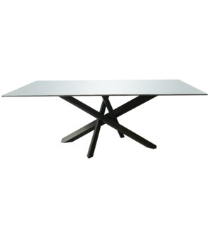 FELL DINING TABLE | Gray Finish on Metal Base with Tempered Rounded Edge Clear Glass Top