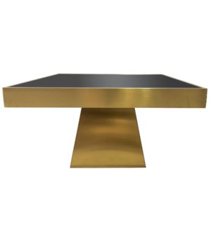 BRYANT COFFEE TABLE | Brushed Gold Finish on Metal with Black Glass Top
