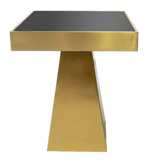 BRYANT END TABLE | Brushed Gold Finish on Metal with Black Glass Top