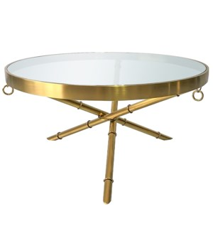 PORTOLA COFFEE TABLE | Brushed Gold Finish on Metal with Clear Glass Top