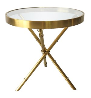 PORTOLA END TABLE | Brushed Gold Finish on Metal with Clear Glass Top