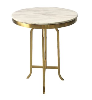 FILLMORE BAR TABLE | Brushed Gold Finish on Metal with Marble Top