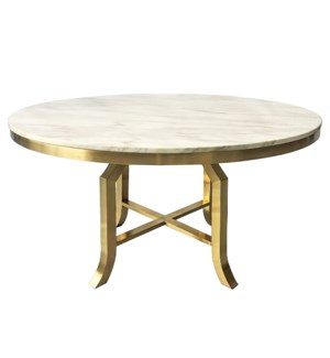 FILLMORE DINING TABLE | Brushed Gold Finish on Metal with Marble Top