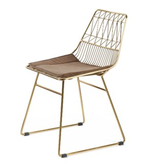 LEIGHTON DINING CHAIR | Brass Finish on Metal with Brown Velvet Seat