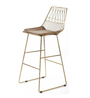 LEIGHTON BAR STOOL | Brass Finish on Metal with Brown Velvet Seat