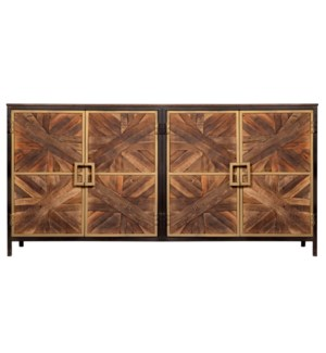 ATHENS SIDEBOARD | Reclaimed Walnut Finish on Mango Wood with Black and Gold Finish on Metal Frame |
