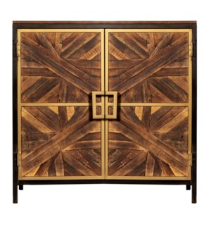 ATHENS CABINET | Reclaimed Walnut Finish on Mango Wood with Black and Gold Finish on Metal Frame | 2