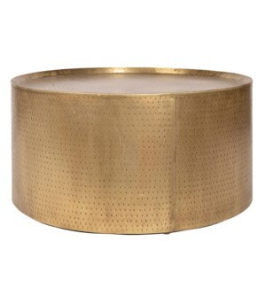 PALA COFFEE TABLE- GOLD | Distressed Gold Finish on Hammered Metal