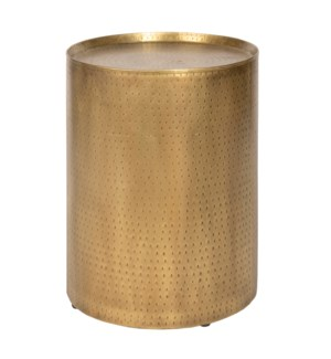 PALA END TABLE - GOLD | Distressed Gold Finish on Hammered Metal