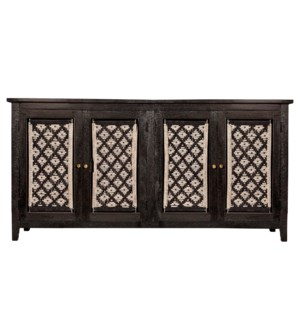 DEVON SIDEBOARD | Black Finish on Mango Wood with Macramé Doors | 4 Door