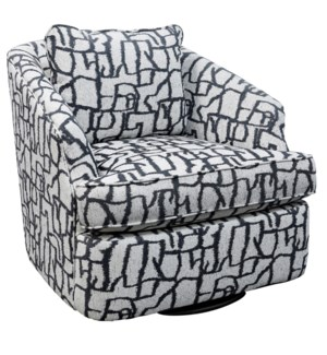 SHELBY SWIVEL CHAIR | Petroglyph Flannel Fabric on Hardwood Frame with Swivel Base