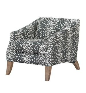 COOPER ACCENT CHAIR | Wild Child Charcoal Fabric on Hardwood Frame